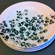 Green Transferware Plate from Child's Tea Set Maiden Hair Fern