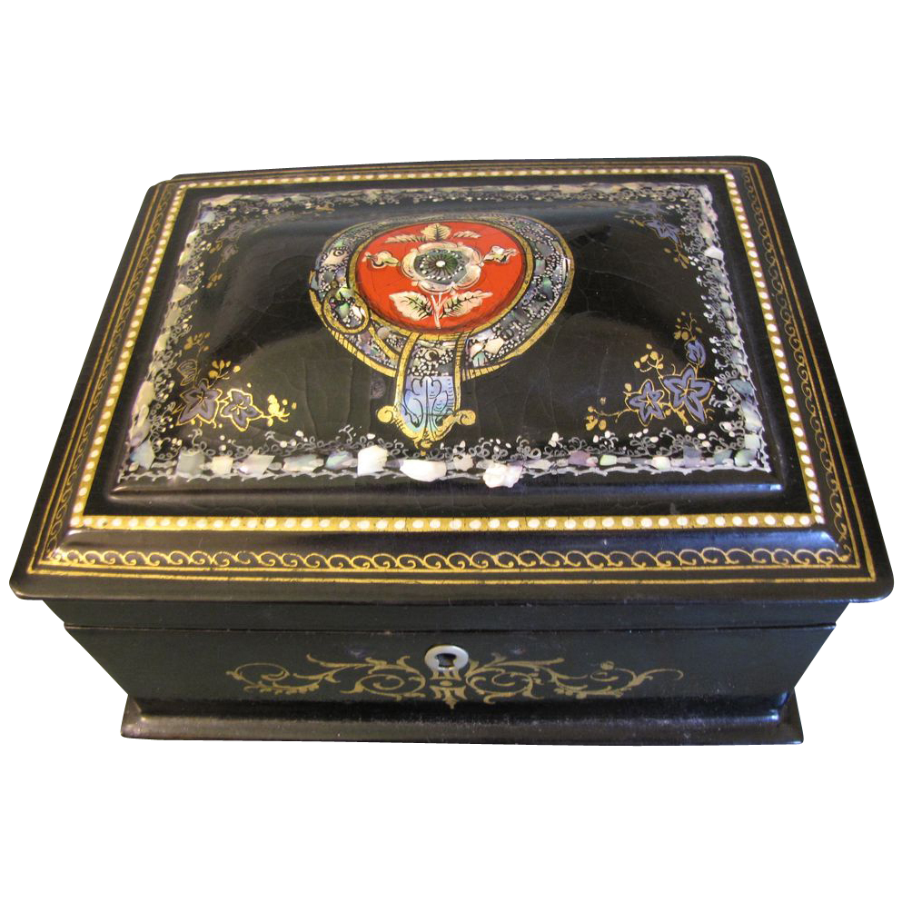Lovely Antique Papier Mache Sewing Box