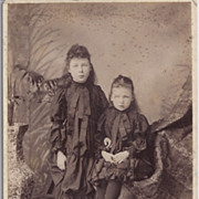Victorian Cabinet Photograph of Young Girls in Victorian Dress
