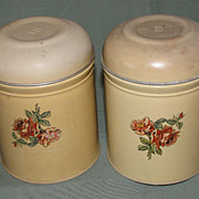 Vintage Pair of Tin Canisters, TEA