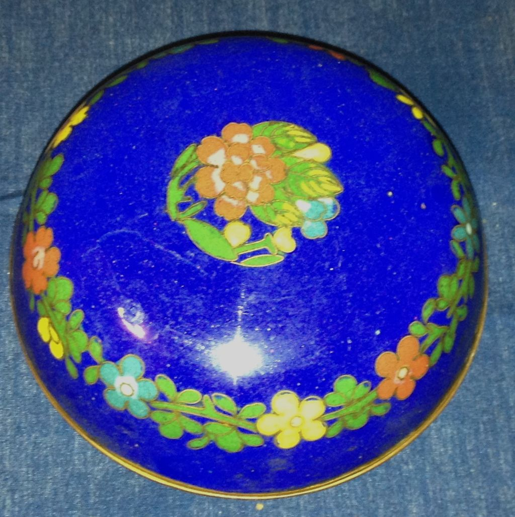 Small Vintage Cloisonne Trinket Box, Royal Blue