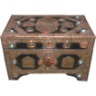 Vintage Mid-Eastern Wood Box, Brass with Beads