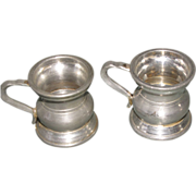 Pair of Tiny Pewter Measures, Bulbous Body, Watt & Co., Edinburgh