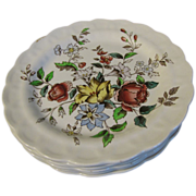 Set of 6 Salad or Dessert Plates, FLOWERPIECE, Booths