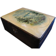 Lovely Victorian Trinket Box, Celluloid Panel on Lid