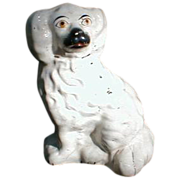 SALE 19.C White Staffordshire Dog (Spaniel), Painted Eyes