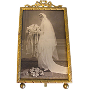 Lovely Brass Rectangular Photograph Frame, French Bow