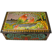 Lovely Art Deco De Erveh De Jong Cocoa Tin Parrots, Circa 1920