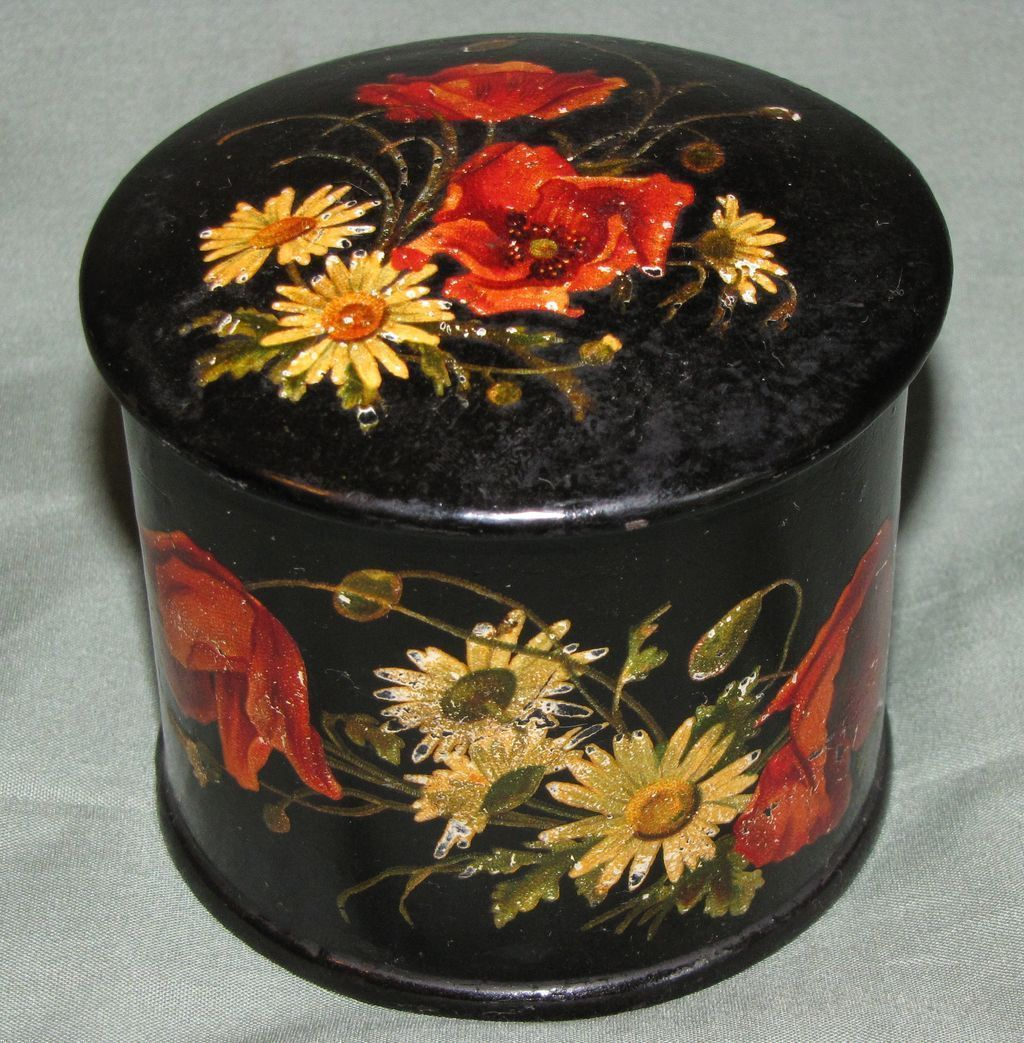 lovely round papier mache powder box red poppies white daisies from tomjudy on ruby lane. Black Bedroom Furniture Sets. Home Design Ideas