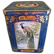 Rather Large Vintage Biscuit Tin, Dutch, Van Melle's, BIRDS