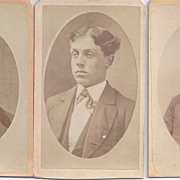 Group of 3 Victorian Photograph Carte De Visite Cards, Young Men
