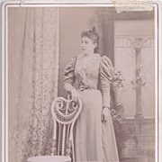 Cabinet Photograph of Lady in Wonderful Victorian Dress