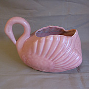 Pink Swan Pottery Planter, Unmarked