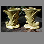 SALE Pair of Yellow Pottery Cornucopia Vases, USA 835