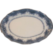 Lovely Flow Blue Oval Platter, Floral Border, Unmarked