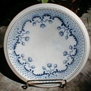 Lovely Round Blue Transferware Trivet, Tulip Design