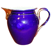 Large Gold Trim Cobalt Blue Pitcher