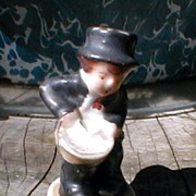 Collectible Ceramic Figurine, Boy with Drum, Japan