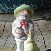 Collectible Ceramic Figurine, Girl with Duck, JAPAN