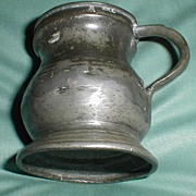 SALE Antique Pewter Measure, Repaired, Marked with Crown, VR, Gill