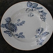 Blue Fruit & Flower Transfer Printed Soup Plate, CHRYSANTHEMUM
