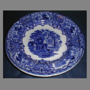 "SALE Deep Blue Transferware 7 1/2"" Dessert Plate, ABBEY, George Jones & Sons"