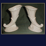 Pair of Mat White Pottery Vases, Cornucopia