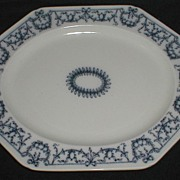 Lovely Blue Printed Octagonal Platter, Brown-WestHead, Moore CA 1884
