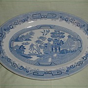 SALE Large Oval Blue Willow Platter, Thomas Hughes England