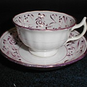 Lovely Early 19th Century Pink Lustre Cup & Saucer, English