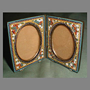 Small Antique Italian Micro Mosaic Photograph Frame, Double