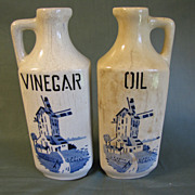Vintage Czechoslovakia Delft Oil and Vinegar Bottles