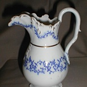 Lovely White Porcelain Pitcher w/ Blue, WREATH