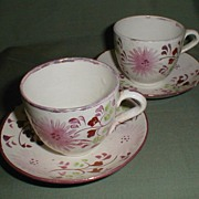 Pair of Staffordshire Pink Lustre Demitasse Cup & Saucer Sets