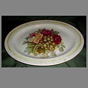 Large White Ironstone Platter, Roses & Grapes