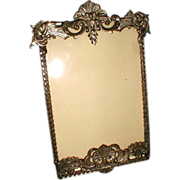 Antique Gray Metal Photograph Frame, Cabinet Photo, C. 1895