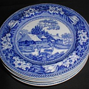 REDUCED Lovely Deep Blue Transferware Plate FALLOW DEER Wedgwood