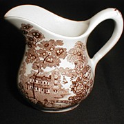 Small Brown Transferware Cream Pitcher TONQUIN