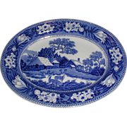 Lovely Deep Blue Transferware Platter FALLOW DEER Wedgwood