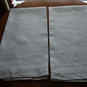 Pr. Of Damask Linen European Towels
