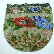 SALE Beaded Bag With Floral Designs