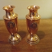 SALE Pair Of Copper/Brass Ypres & Armentieres  Crest  Vases