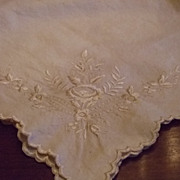 Hand Embroidered Cotton Flannel Baby Receiving Blanket C:1940