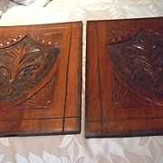 SALE English Mahogany Carved Plaque Pair C:1880