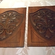 SALE English Carved Plaque Pair C:1880