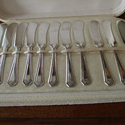 "Boxed Set Of 11 ""Lancaster"" Silver Plated Flat Spreaders C:1939"