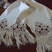 SALE Linen Crochet Table Runner C:1900