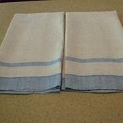 Pr. Blue/White Linen 17x27&quot; Towels Hemstitched (2 Pr. Available)