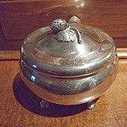 SALE Silverplated Footed Hinged Oval Box With Strawberry on Top.