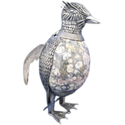 Vintage Silver and Marble Bird Figurine - Made in Mexico